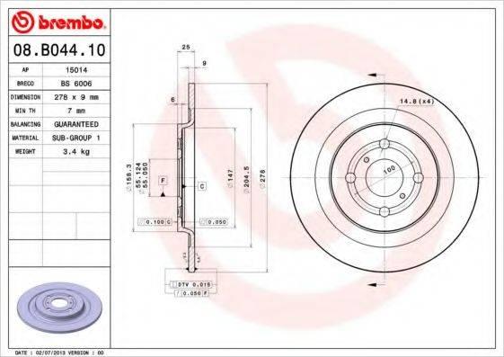 BREMBO 08B04410 Тормозной диск