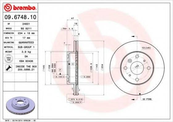 BREMBO 09674810 Тормозной диск