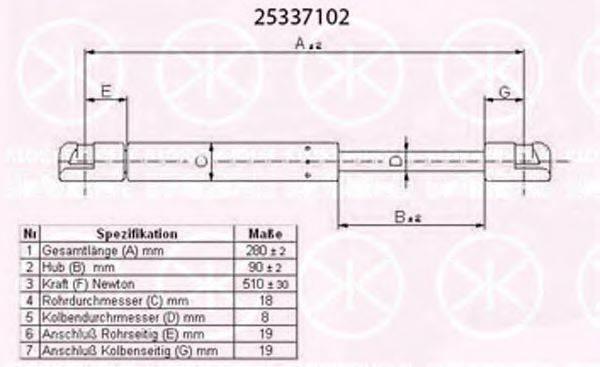 KLOKKERHOLM 25337102 Газовая пружина, крышка багажник