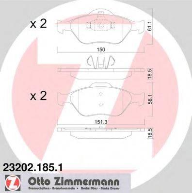 ZIMMERMANN 232021851 Комплект тормозных колодок, дисковый тормоз