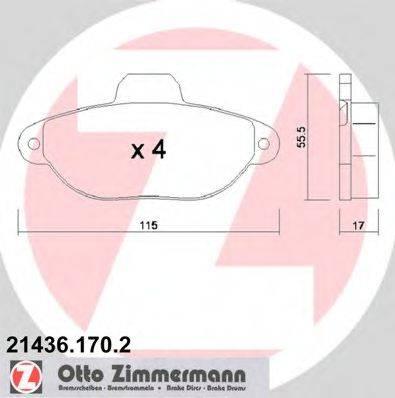 ZIMMERMANN 214361702 Комплект тормозных колодок, дисковый тормоз