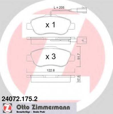 ZIMMERMANN 240721752 Комплект тормозных колодок, дисковый тормоз