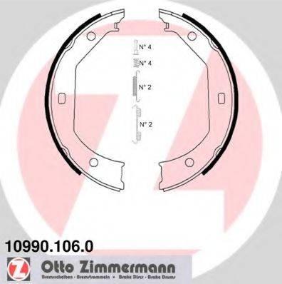 ZIMMERMANN 109901060 Комплект тормозных колодок, стояночная тормозная система