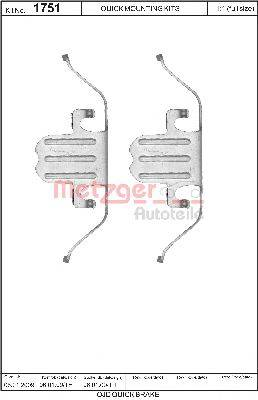METZGER 1091751 Комплектующие, колодки дискового тормоза