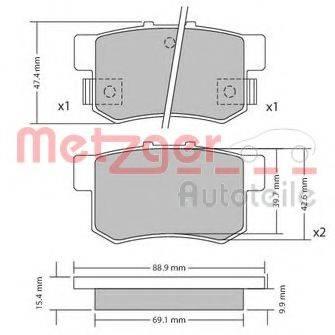 METZGER 1170337 Комплект тормозных колодок, дисковый тормоз