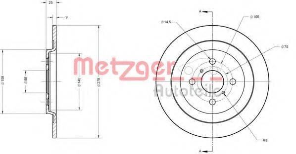 METZGER 6110181 Тормозной диск